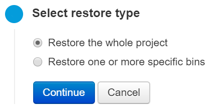 Select the restore type